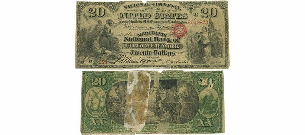 États-Unis. Monnaie nationale, Merchants National Bank of the City of New York, première période de la charte, série originale, 19 juillet 1865, 20 dollars