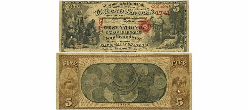 États-Unis. Billet en or, First National Gold Bank of San Francisco, 30 novembre 1870, 5 $