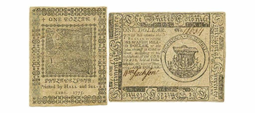 Guerre révolutionnaire : Congrès continental. Continental Currency promissory notes, émission du 10 mai 1775, 1 $
