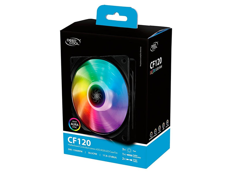 Deepcool CF120 120mm Fan with Customizable Addressable RGB LED  (3-Pack) - Playtech