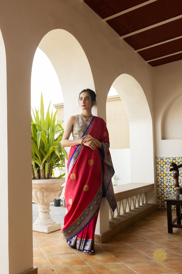 Handwoven Tussar Georgette Saree With Contrast Border & Pallu