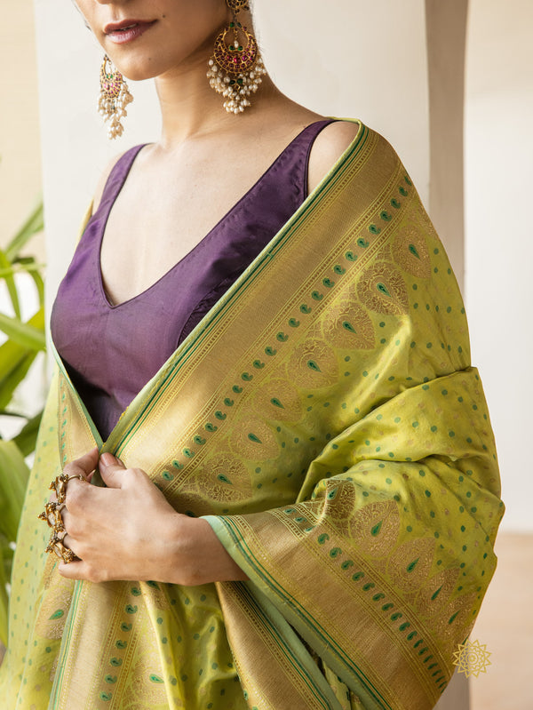 Handcrafted Pure Katan Silk Dupatta with Booti & Border In Resham And Zari