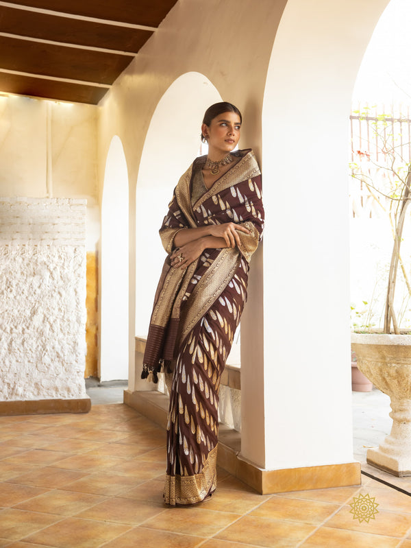 Handcrafted Meenedar Kadhwa Boota Saree in Rich Brown Colour