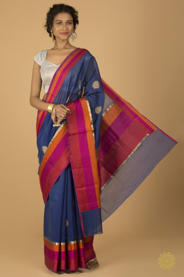 Banarasi Kora Silk Saree With Satin Pallu And Border