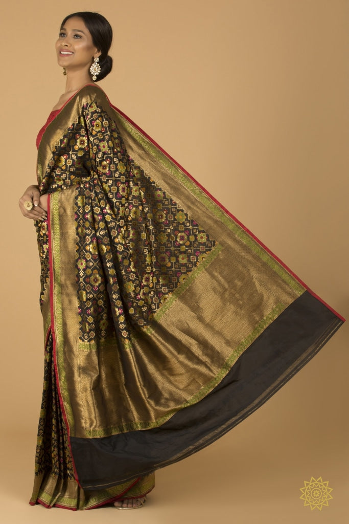 Black And Gold Multi Colour Katan Silk Banarasi Sari Saree