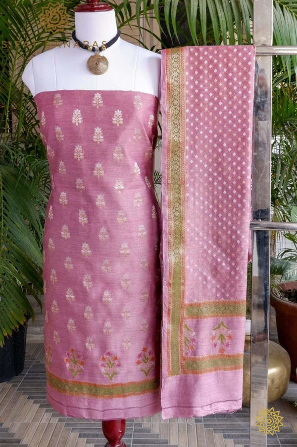 Cotton Chanderi Kurta Dupatta In Onion Pink Ensembles