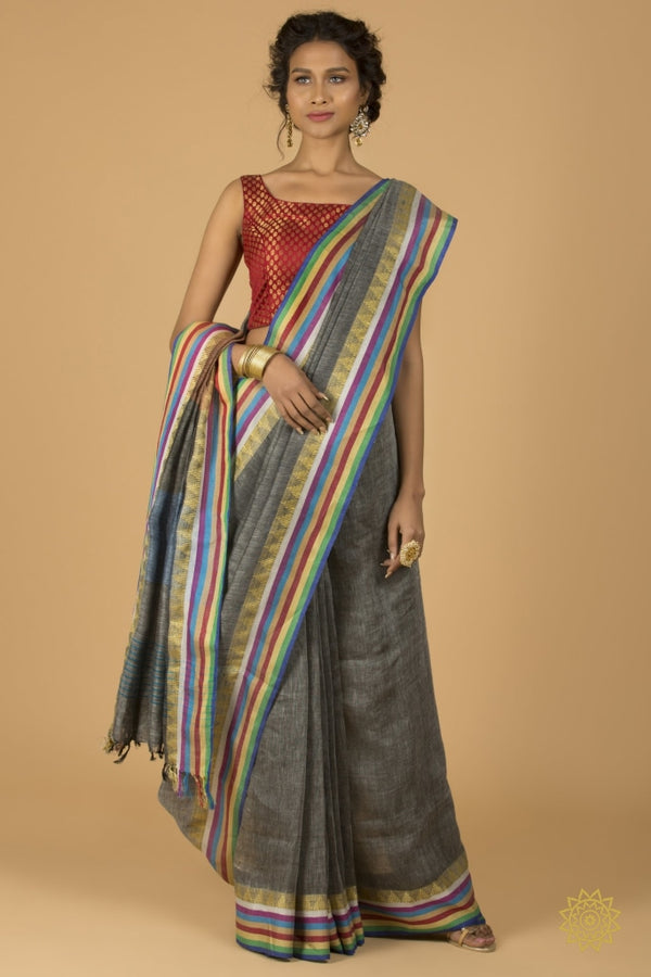 Cotton Linen Banarasi Sari In Grey Saree