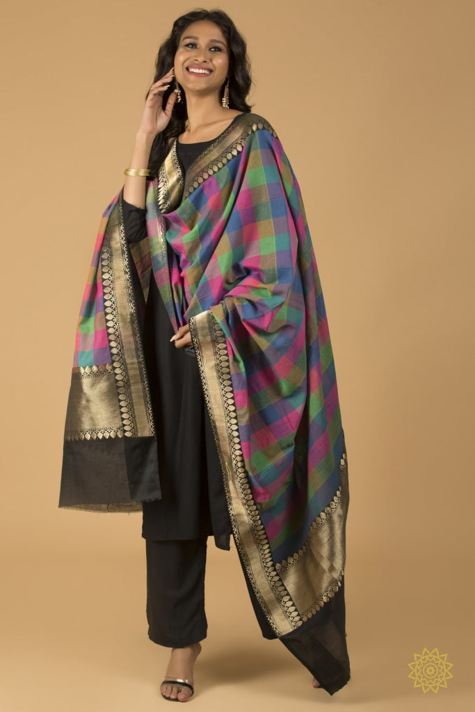 Dupatta Cotton With Satin Border