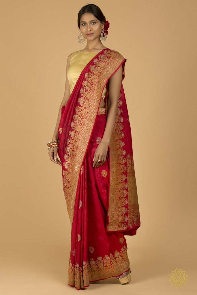 Handwoven Banarasi Tusser With Gold And Silver Border Buti Saree