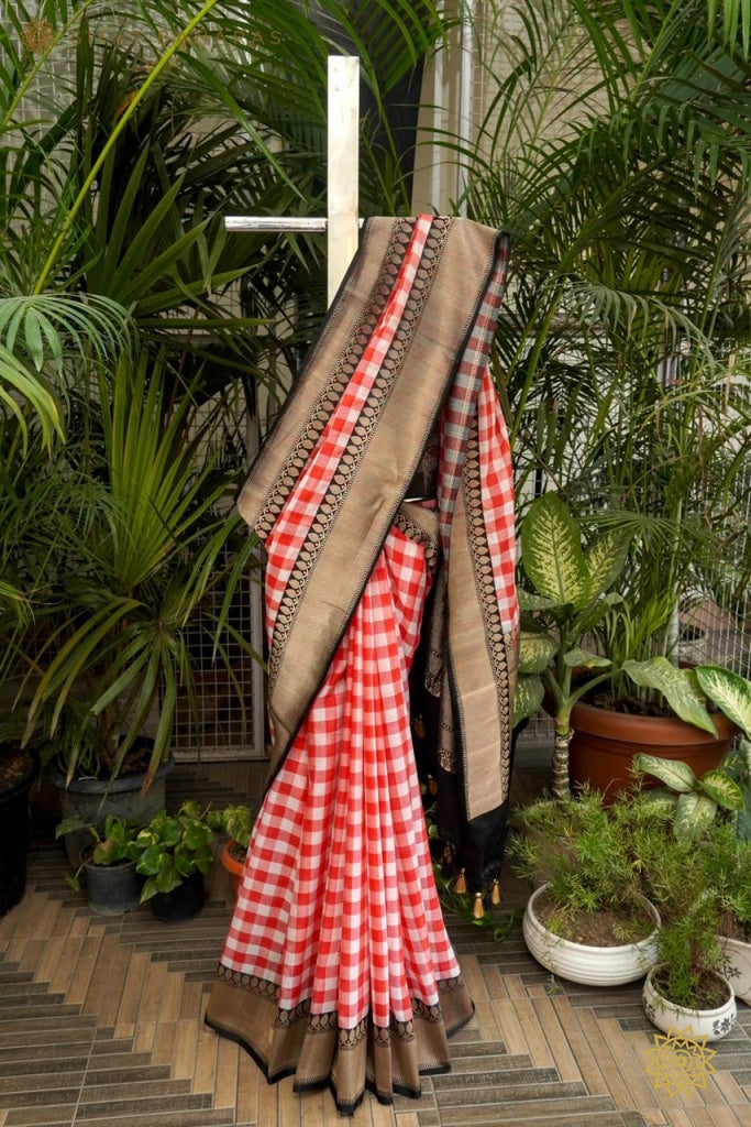 Handwoven Cotton Saree With Black Satin Border And Pallu