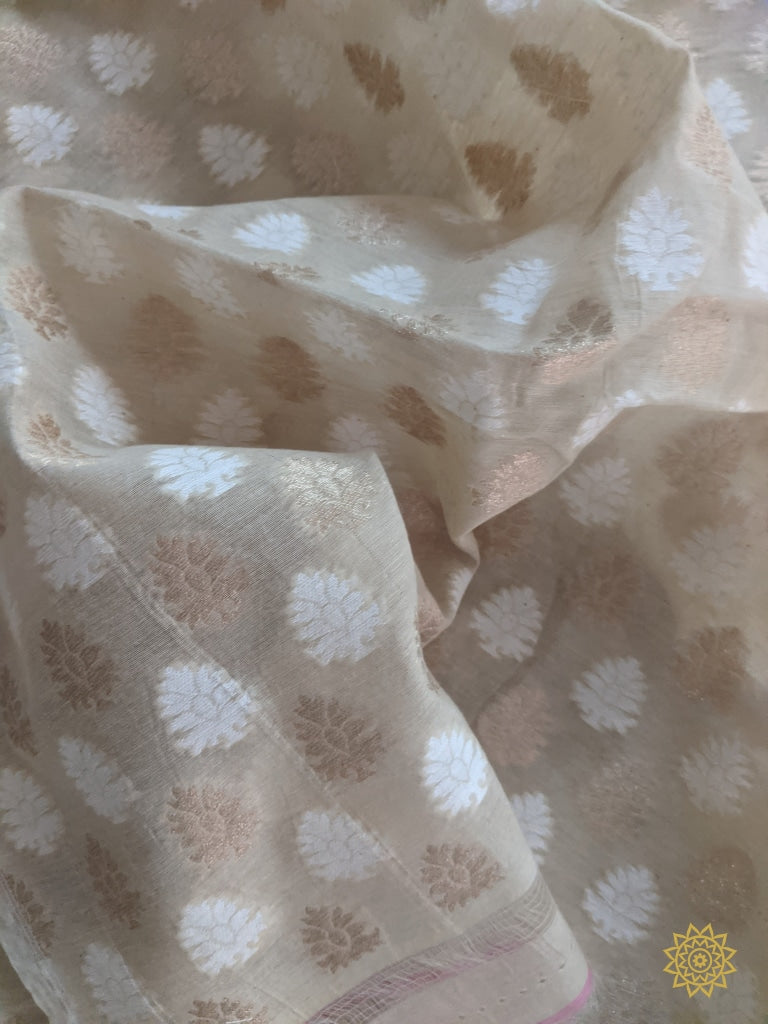 Handwoven Summer Cotton Fabric In Cream Yardages