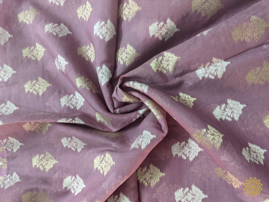 Handwoven Summer Cotton Fabric In Violet Yardages