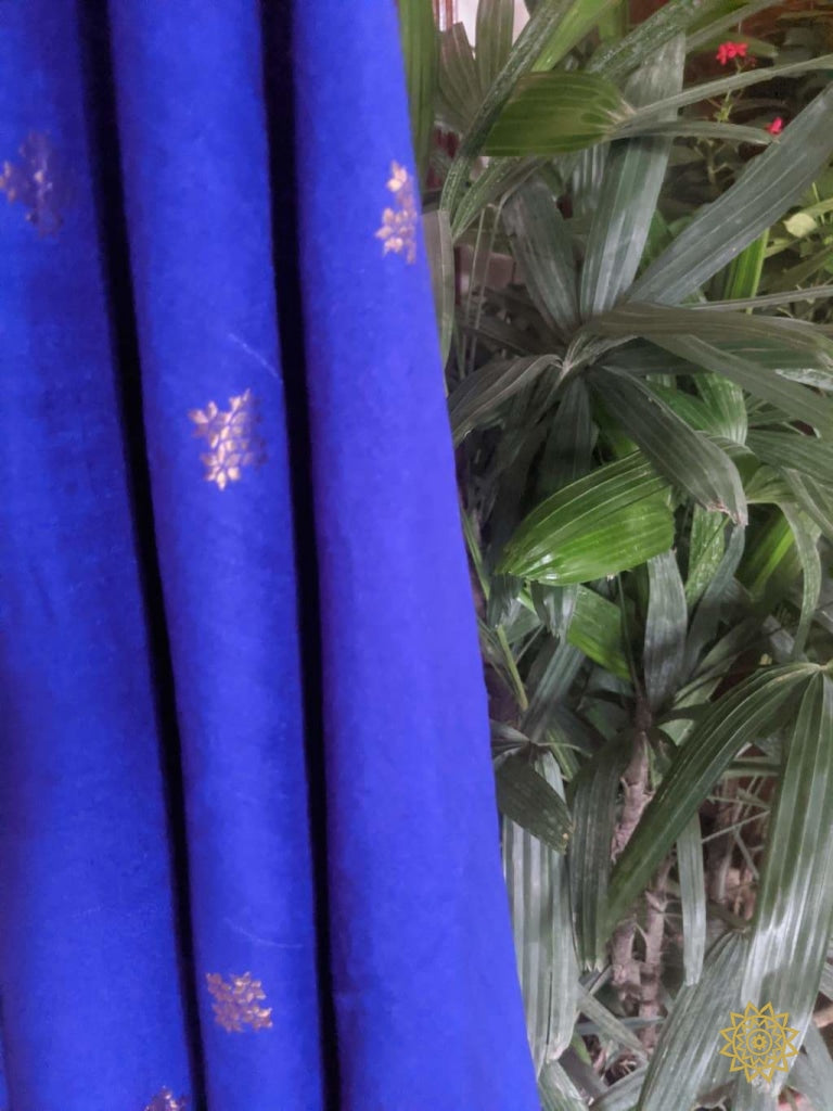 Multipurpose Tussar Georgette Fabric With Kadwa Gold And Silver Butas Yardages