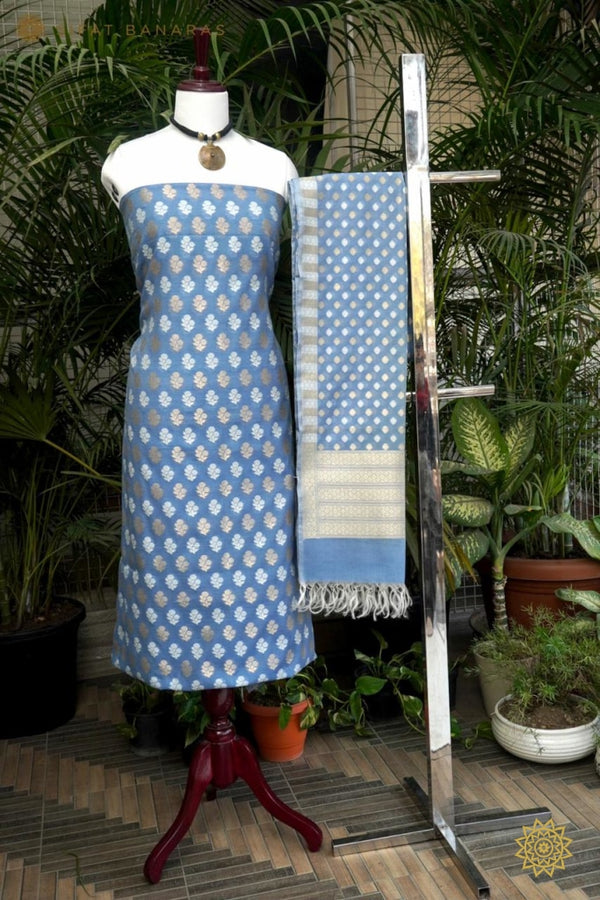 Pure Handloom Cotton Resham Kurta Dupatta Set In Blue Ensembles