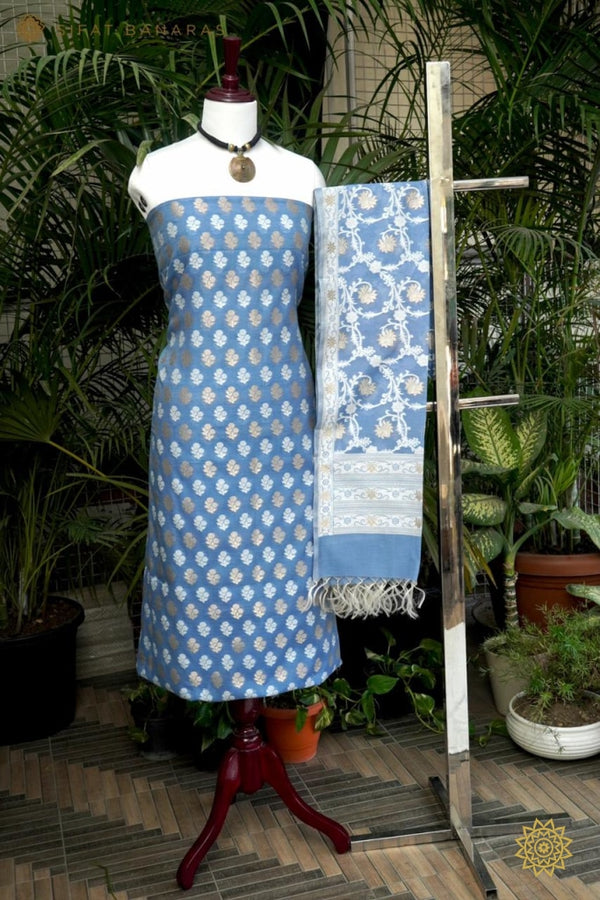 Pure Handwoven Kurta Dupatta Set In Blue Ensembles