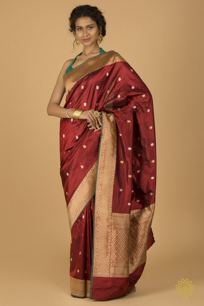 Traditional Handwoven Border And Buti In Maroon With Gold Zari Saree