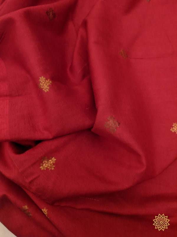 Tussar Georgette Fabric In Red Yardages