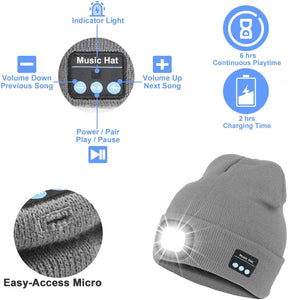 Make-trends.com Bluetooth Beanie Hat with Light Bluetooth Beanie Hat with Light, Upgraded Musical Knitted Cap