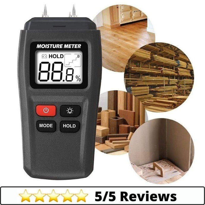 Make-trends.com Digital Moisture Meter, Water Leak Detector, Moisture Tester, Pin Type, Backlit LCD Display