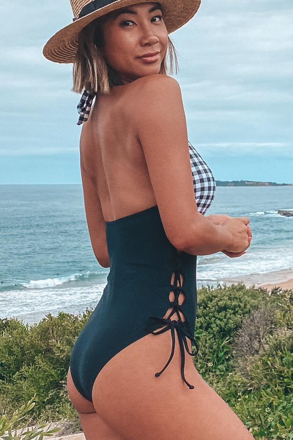 Halter Neck Lattice Design One Piece Swimsuit