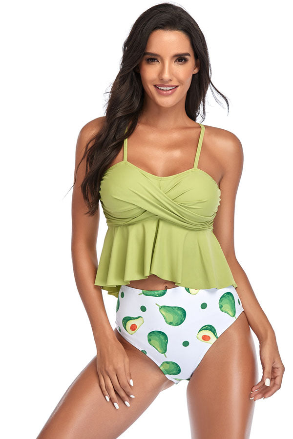 5 Colors High Waist Floral Ladies Swimsuit