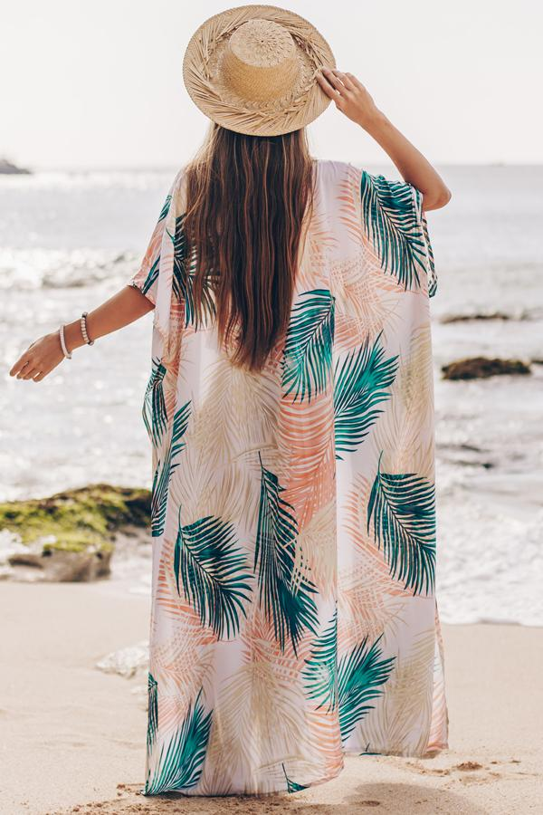 Colorful Leaf Print Open Front Swimsuit Cover Up