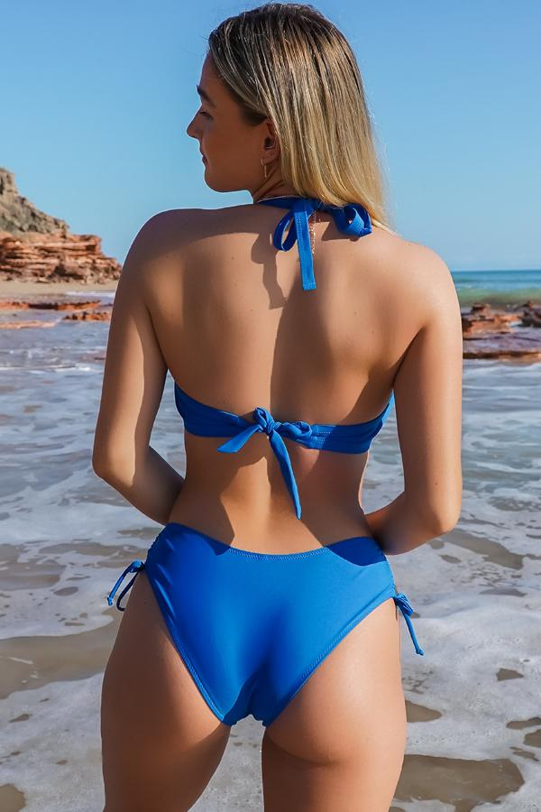 Halter Neck Solid Color Tie Back Bikini Set