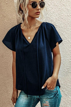 V Neck Ruffle Shoulder Top
