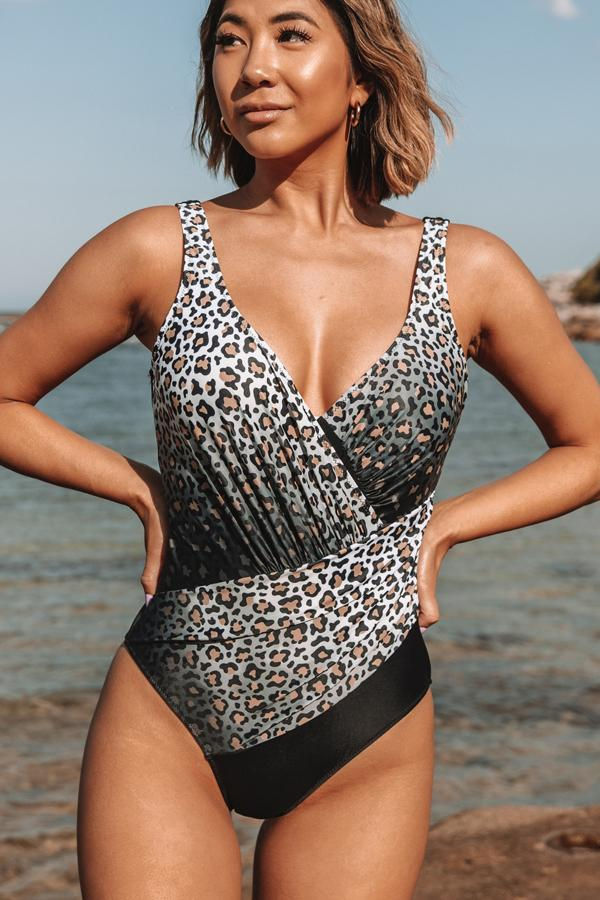 Leopard Print Cross Front One Piece Swimwear
