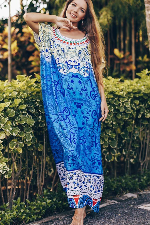 Digital Print Round Neck Maxi Swimsuit Cover Up