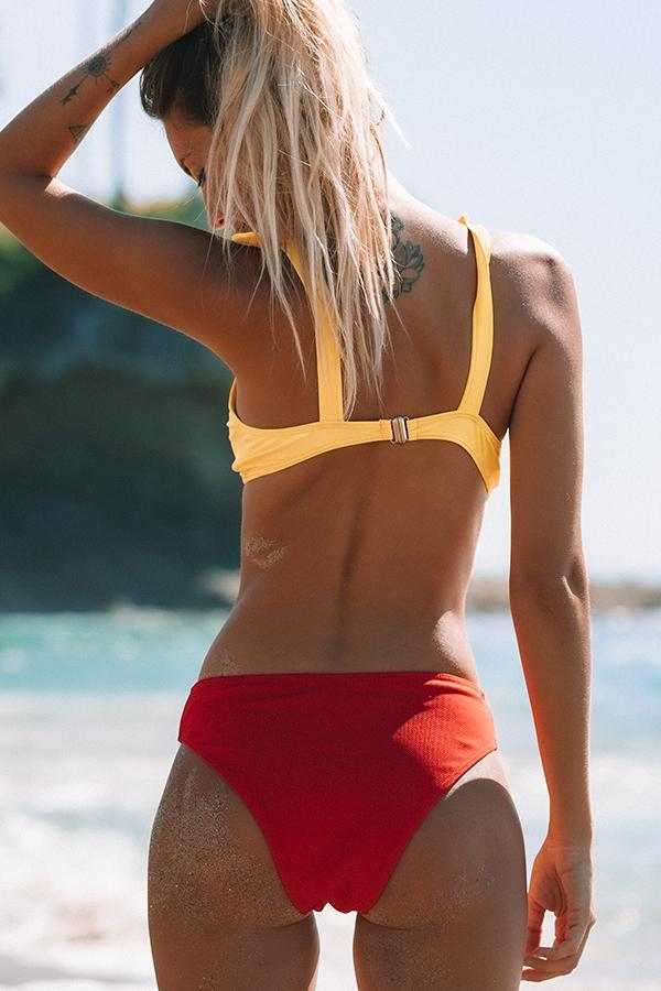 Color Block Tie Shoulder Bikini Set