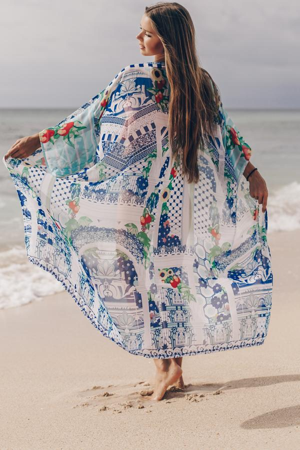 Open Front Printed Swimsuit Cover Up
