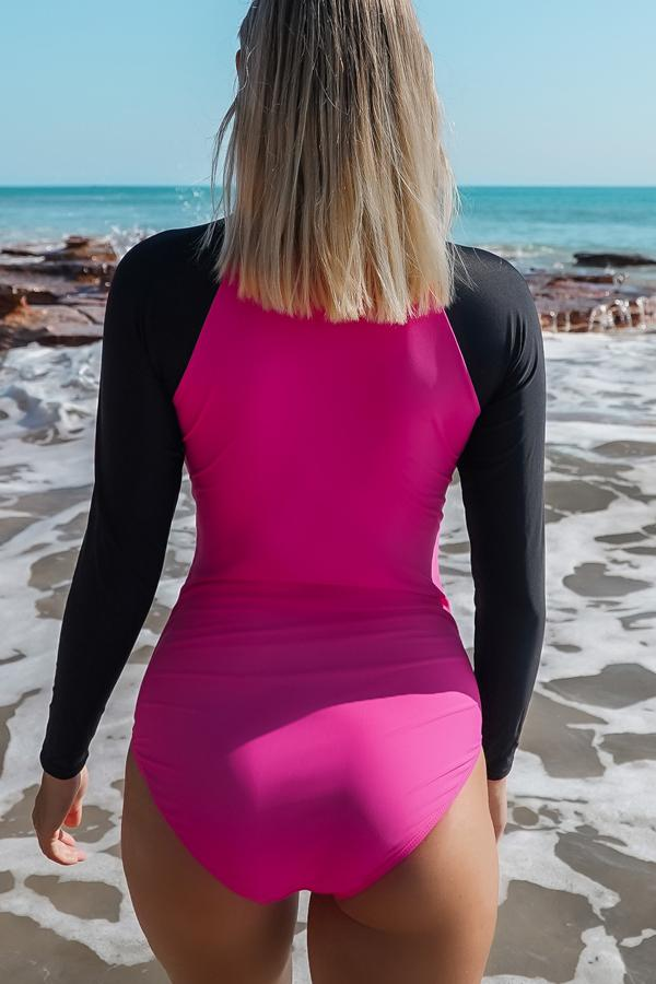 Long Sleeve Zipper Up Swimwear Surfing