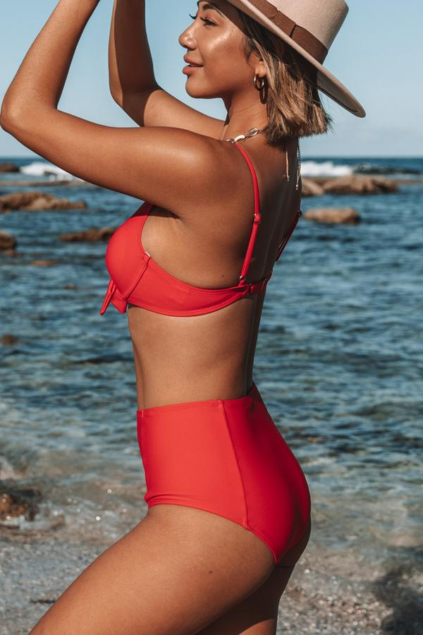 High Waist Tie Front Solid Color Bikini Set