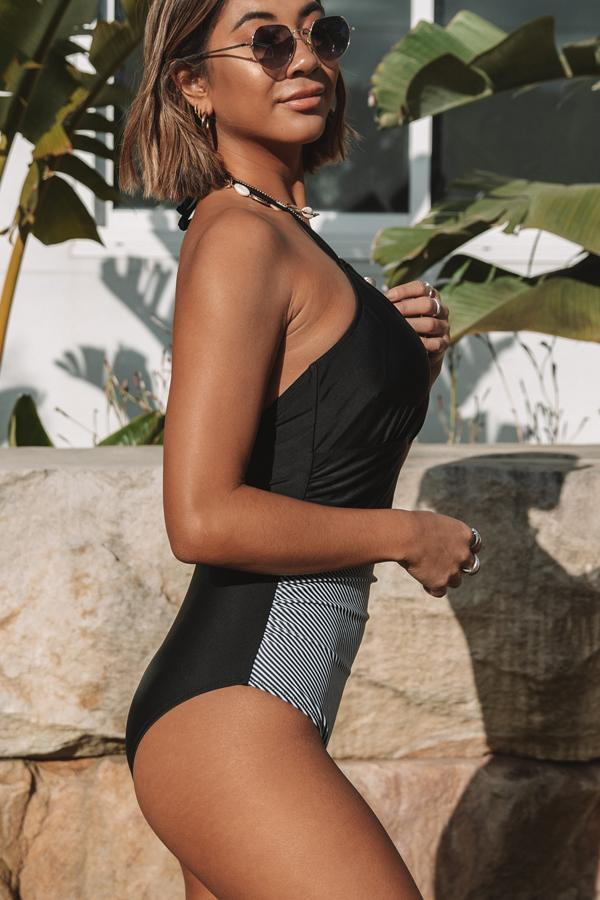 Halter Nerck Patchwork One Piece Swimwear