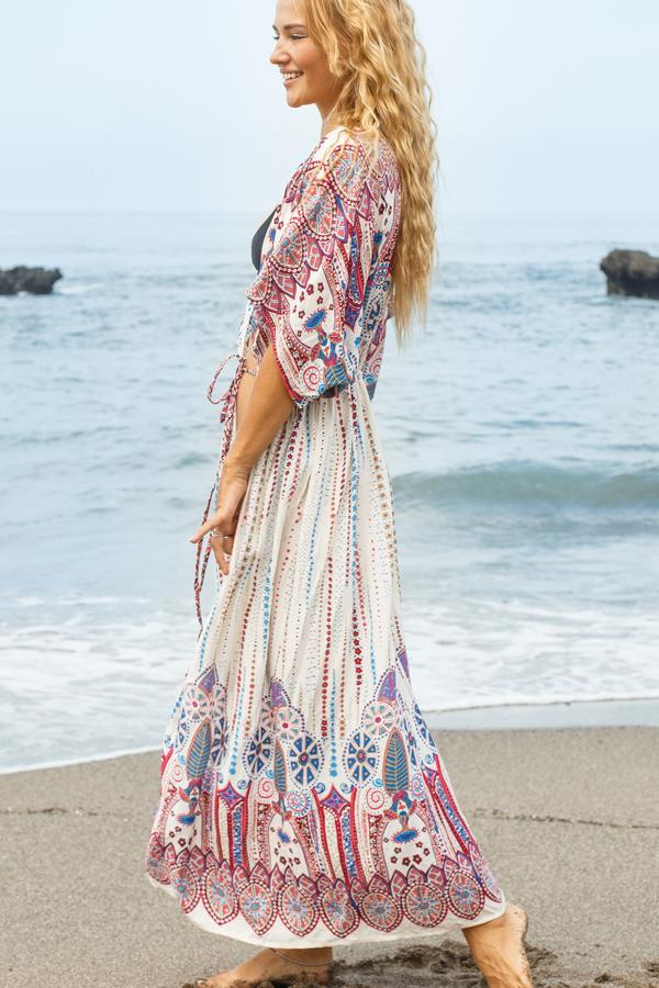 Drawstring Tie Waist Maxi Swimwear Cover Up