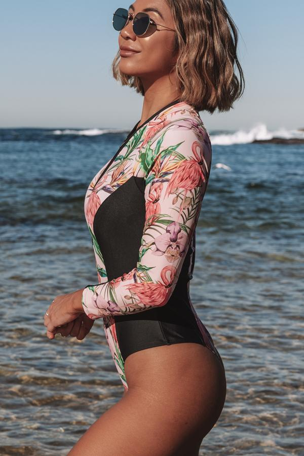 Flamingo Print Zipper Up Surfing Swimsuit