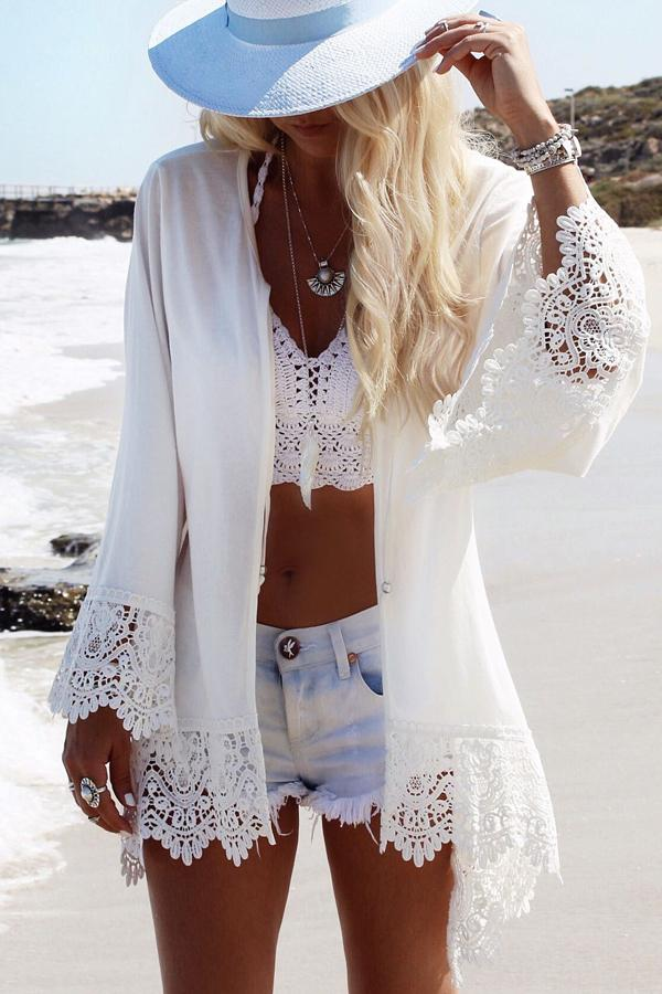 Lace Panel Open Front Swimwear Cover Up