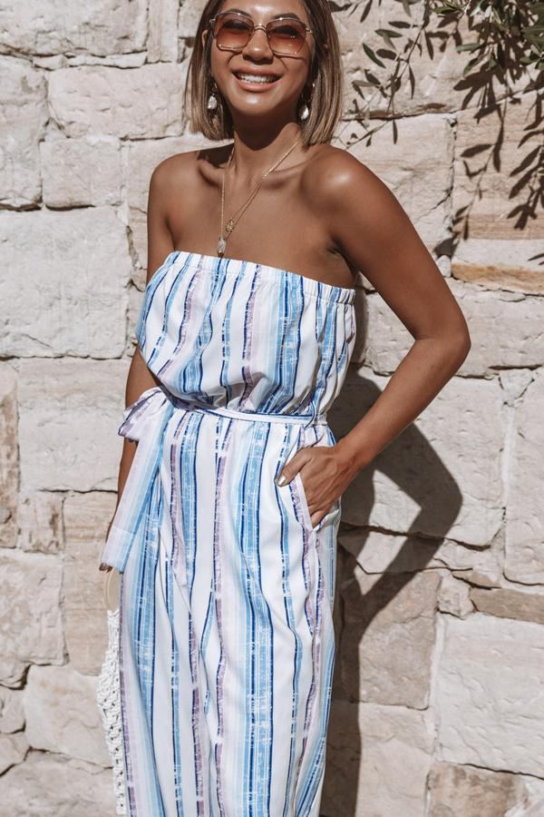 Off The Shoulder Tie Waisted Jumpsuit