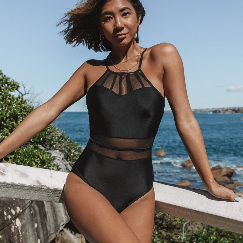 Mesh Panel Solid Color Sexy One Piece Swimwear