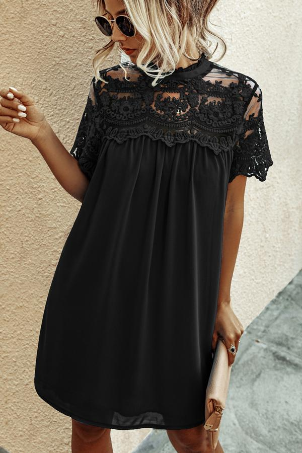 Chiffon Lace Solid Color Mini Dress