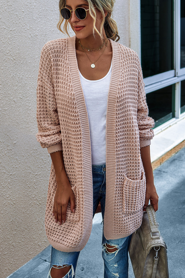 Open Front Long Sleeve Pocket Pink Cardigan