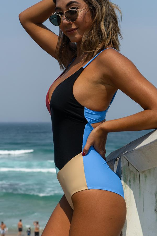 Colorblock V Neck Cute One Piece Swimwear