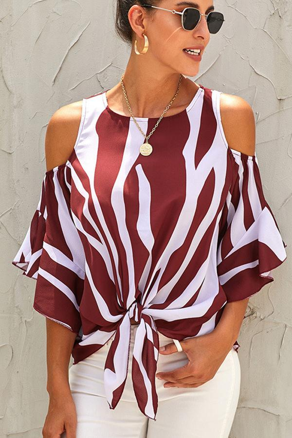 Knot Front Round Neck  Blouse