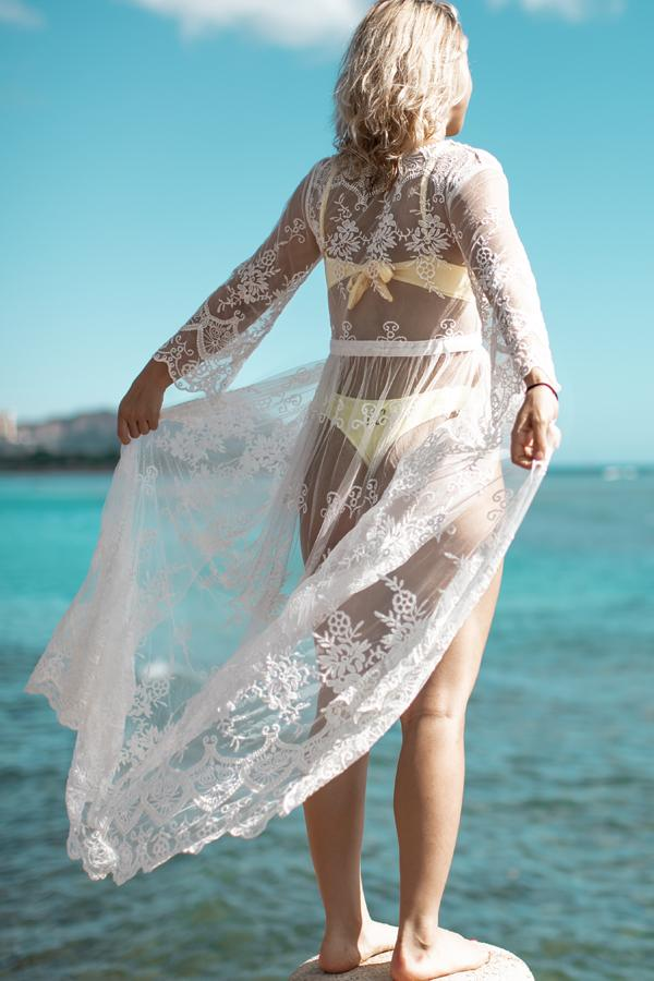 Solid Color Embroidered Maxi Cover Up
