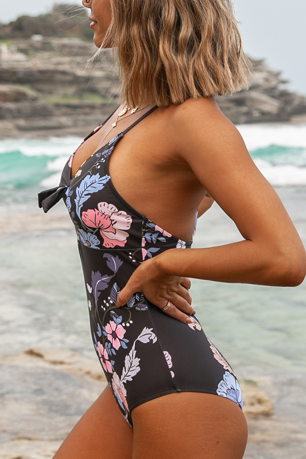 Tie Front Flower Print One Piece Swimsuits