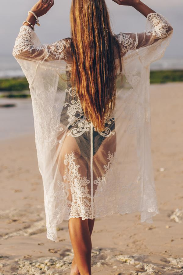 Long Sleeve Lace Beach Cover Up