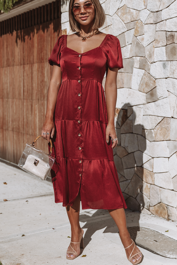 Button Up Puff Sleeve Square Neck Midi Dress