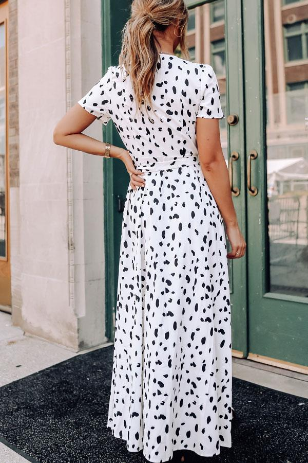 Polka Dot Print Short Sleeve Wrap Dress