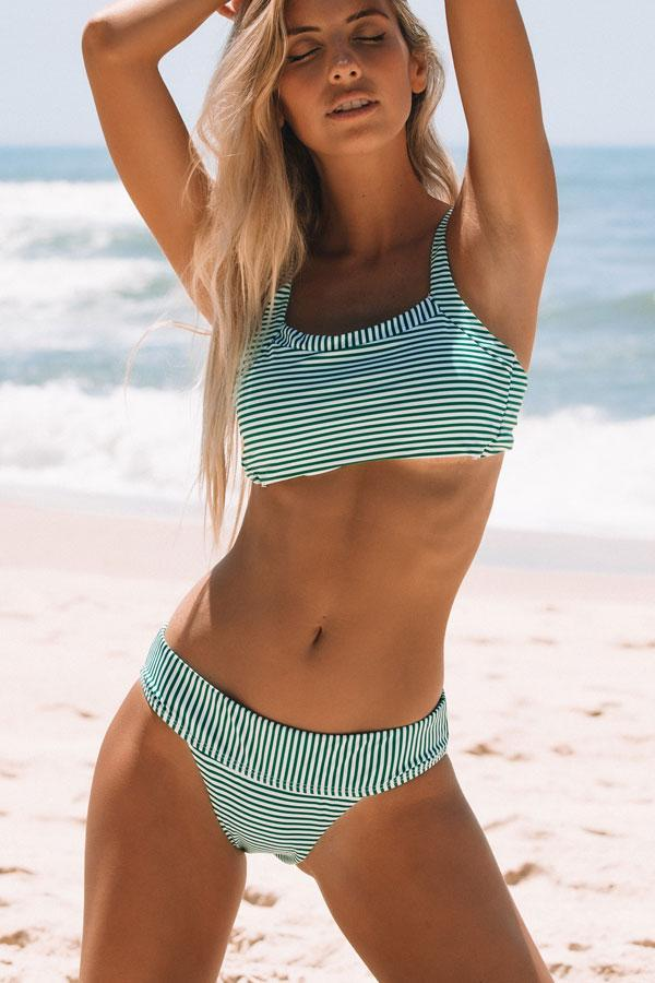 Band Waist Stripe Print Bikini Set